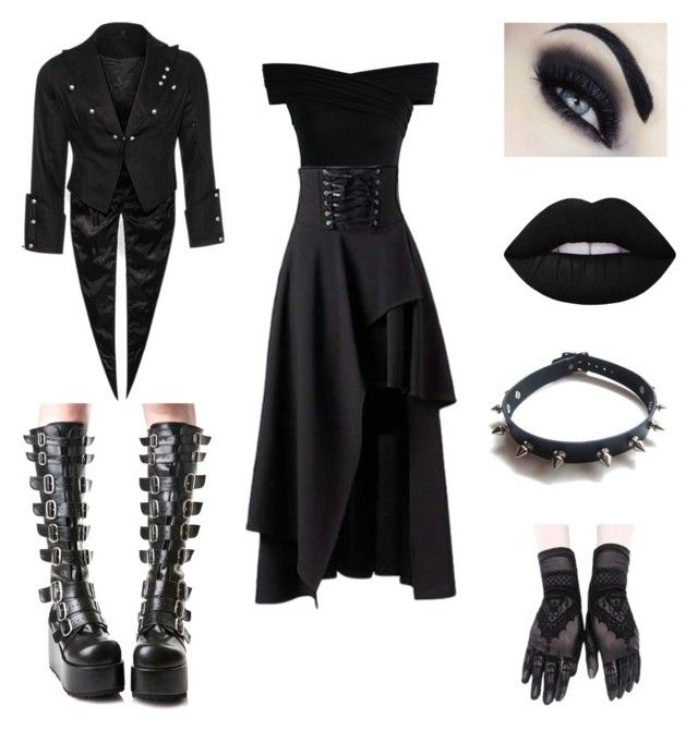 'Comfy In Black' by darkrainsangel on Polyvore featuring polyvore, fashion, style, Chicwish, Demonia, WithChic, Lime Crime and clothing