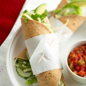 Using whole grain tortillas helps boost the fiber in this fresh-tasting vegetarian sandwich wrap.