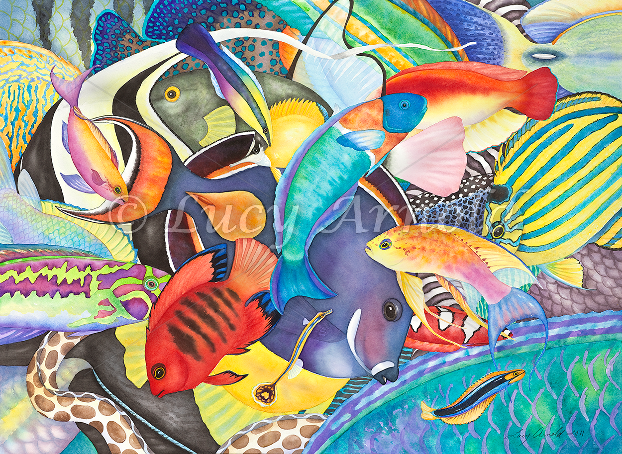 History of watercolor art - Delightful Hawaiian Fish Fill This Watercolor With Movement And Color