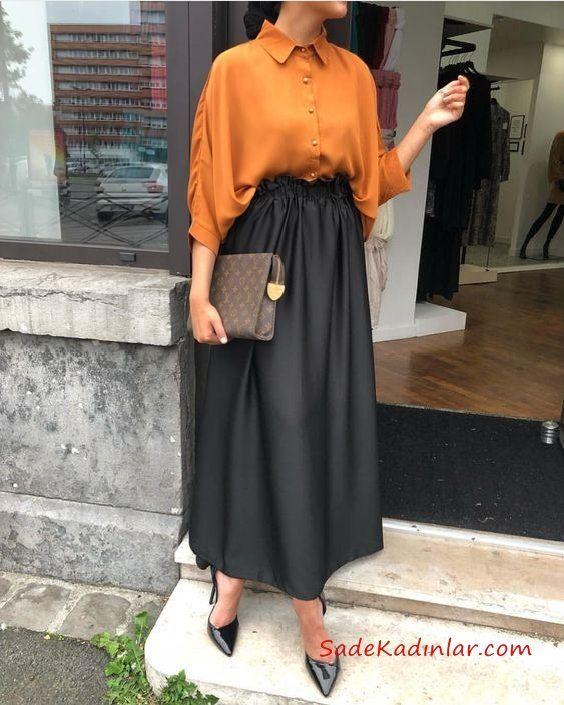 2019 Tesettür Etek Kombinleri Siyah Uzun Beli Lastikli Etek Sarı Salaş Gömlek Siyah Stiletto Ayakkabı