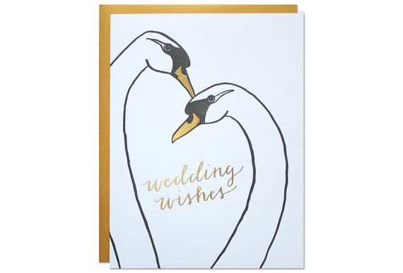 Send thoughtful wedding wishes to the perfect pair. size :: A2 {4.25 x 5.5} method :: foil stamped in the USA paper :: smooth white paper with gold foil and black letterpress ink with gold envelope packaging :: each card is packaged in a cello bag and mailed in a no-bend mailer