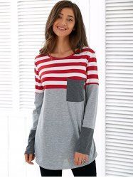 Spliced Asymmetric Striped T-Shirt in Light Gray XL | Sammydress.com