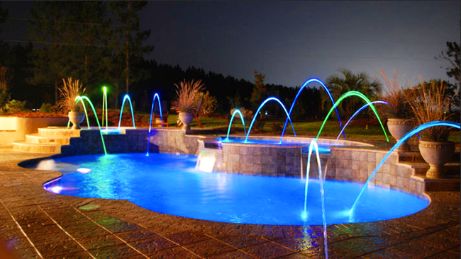 lights for use in above ground and in ground pools along with fiber