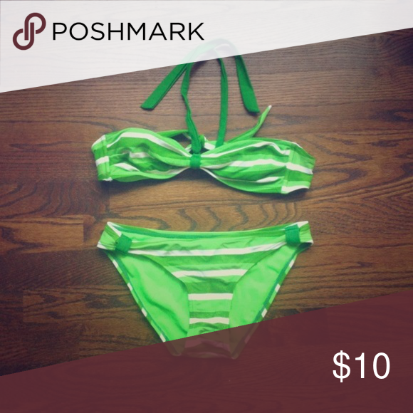 ce1f7a934f3c9 Arizona Jeans Company Jr's Striped Bikini, Small Up for sale is an  excellent pre-owned condition Arizona Jeans Company Green Striped Bikini,  Size Junior's ...