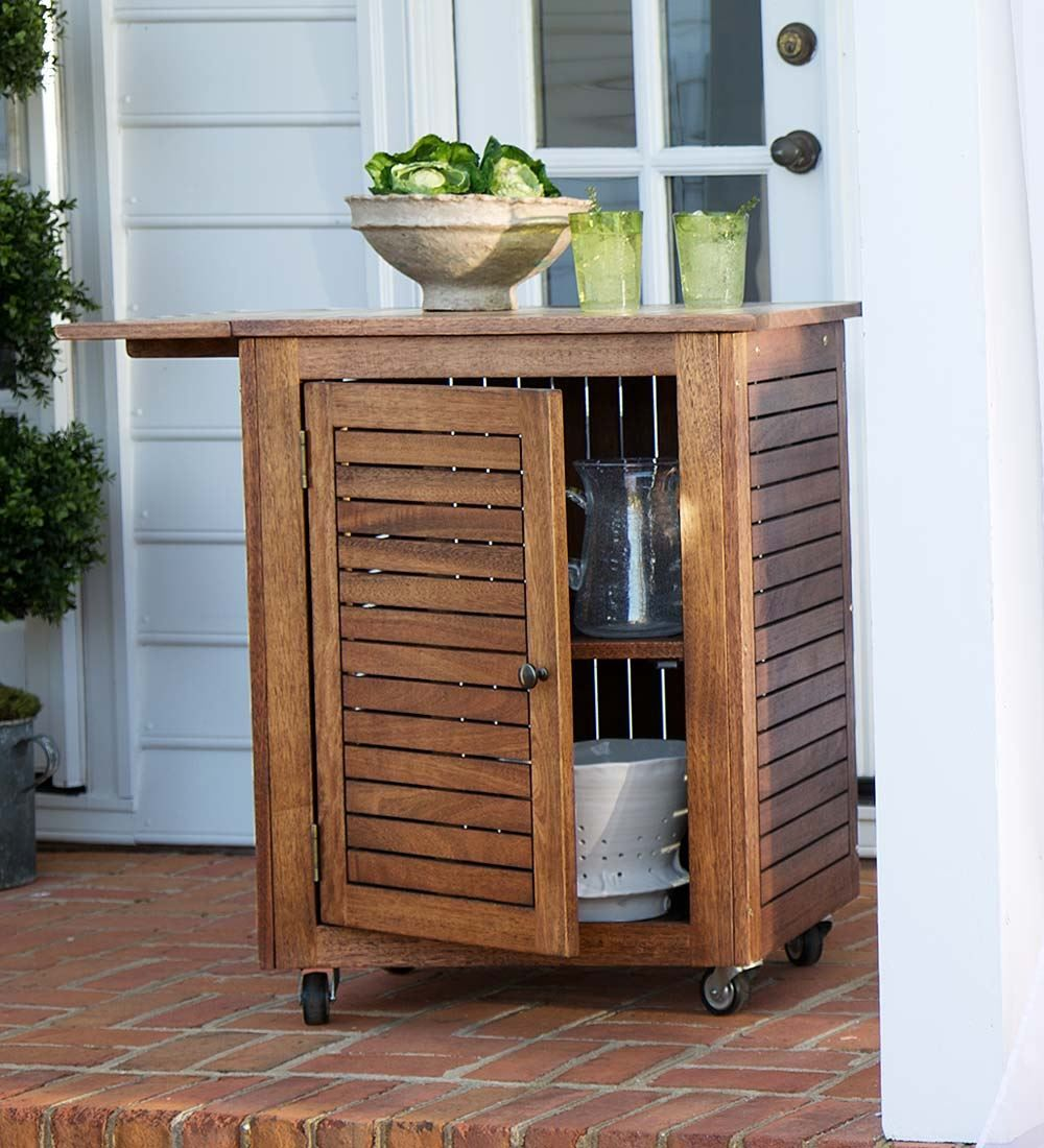 Large Eucalyptus Wood Rolling Cart Collection Accessories Rolling Kitchen Cart Outdoor Kitchen Design Outdoor Kitchen Appliances