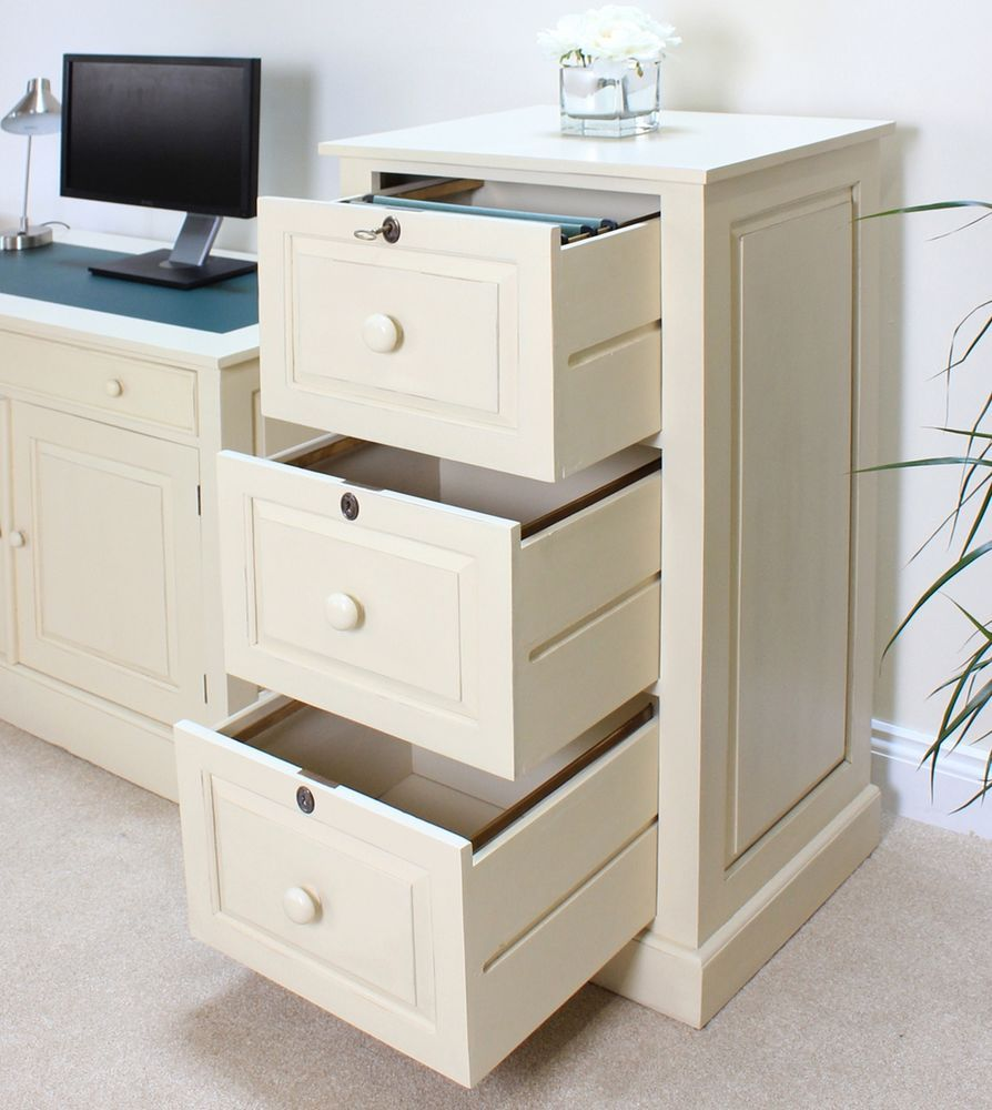 Attractive Cadence Large Office Filing Cabinet Solid Mahogany Cream Painted Furniture Amazing Pictures