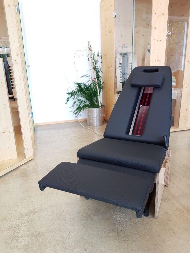 Infrarotliege - Relaxliege - Wellnessliege Rotlichtstrahler für - schlichtes sauna design holz seeblick