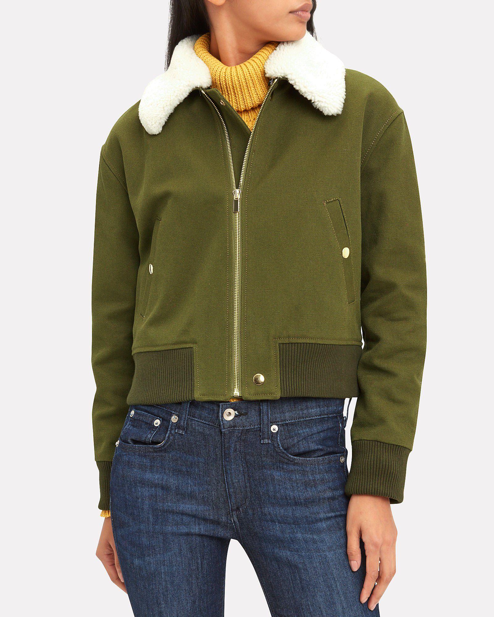Shearling Collar Army Green Bomber Jacket, ARMY GREEN