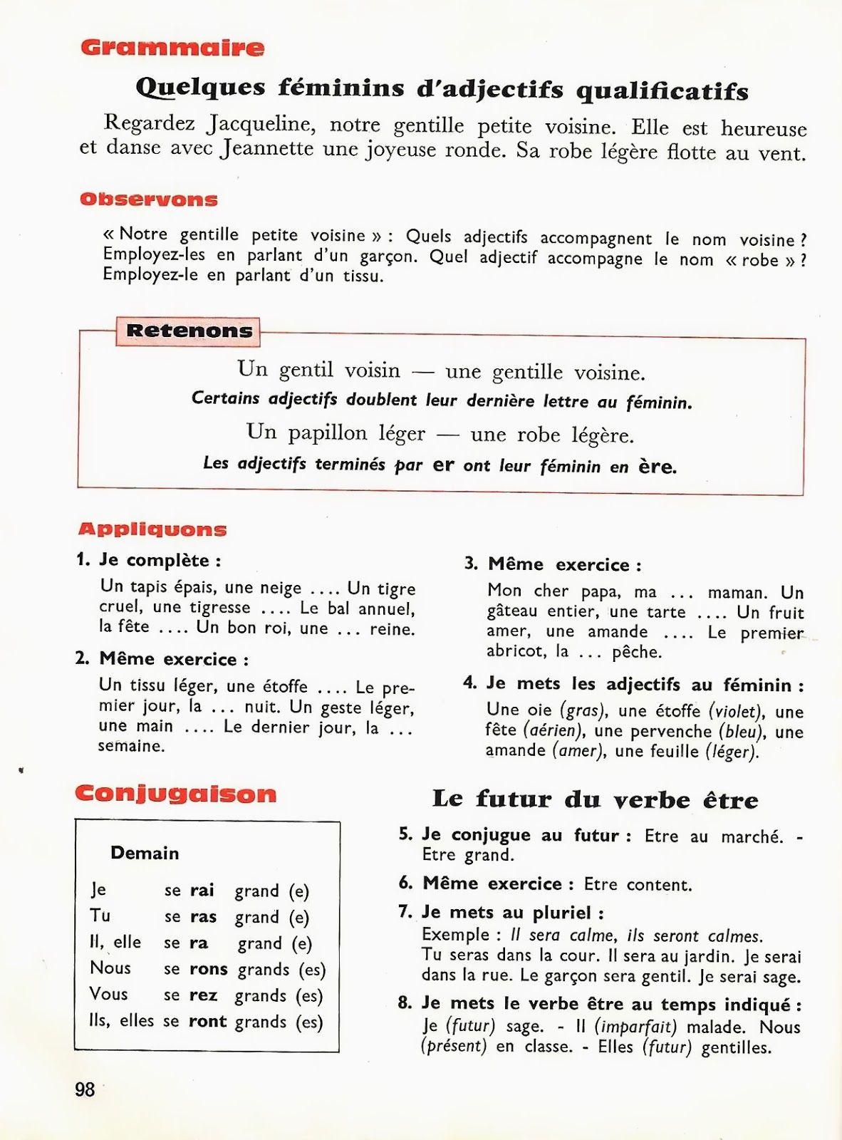 Toraille A La Conquete De Notre Langue Ce1 1965 Grandes Images Ce1 Adjectif Qualificatif Grammaire