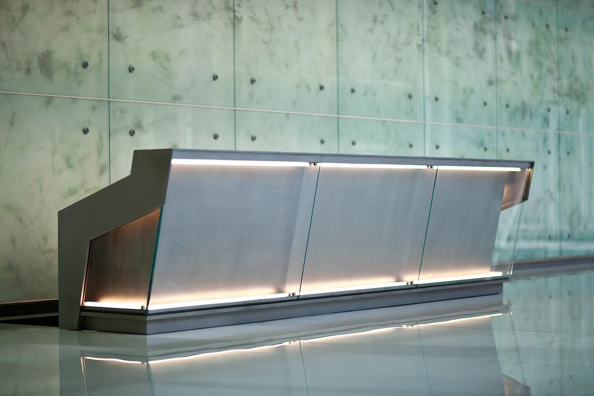 Reception Desk In Stainless Steel With Mist Finish At 1999 K Street Washington D C
