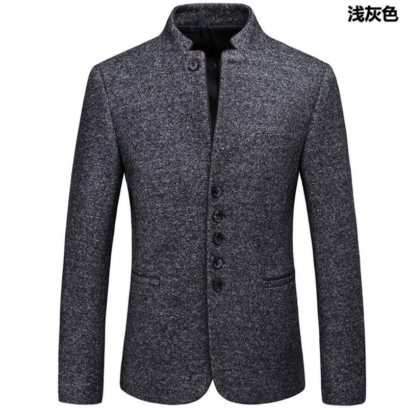 1d7f4498b71e Excellent Stand-up Collar Woolen Jacket - Light Gray - Chinese Jackets    Coats - Men