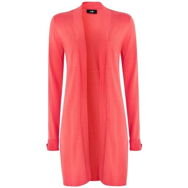 Coral Longline Cardigan ($50) ❤ liked on Polyvore featuring tops ...
