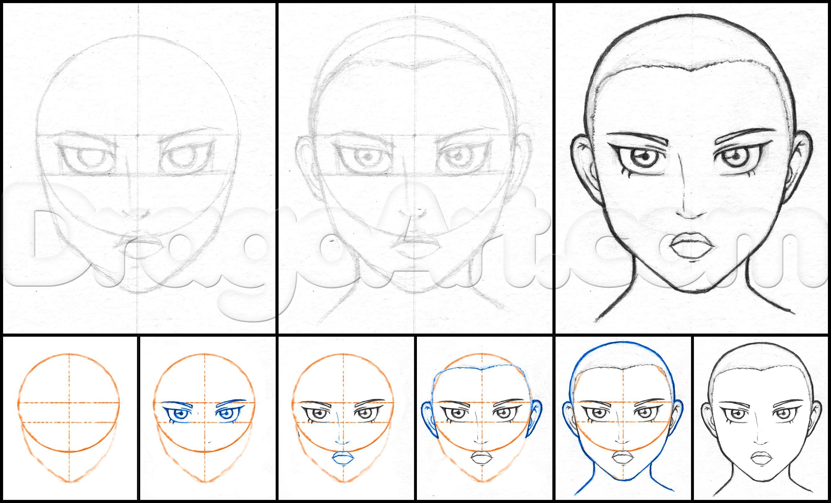 How to draw anime faces in pencil step 1