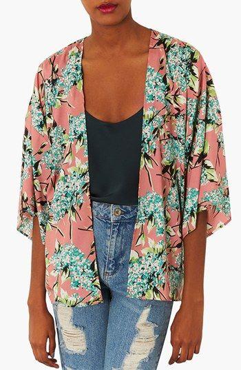 Topshop Floral Print Kimono Jacket | Nordstrom | Printed