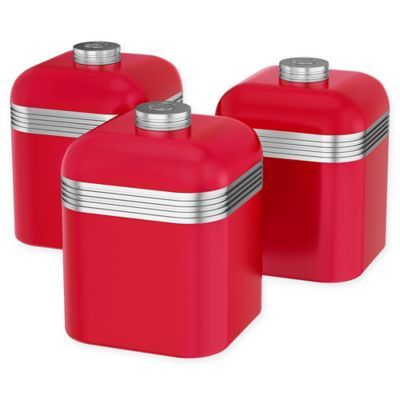 Swan 3 Piece 1 Liter Retro Canister Set In Red Canister Sets Canisters Retro