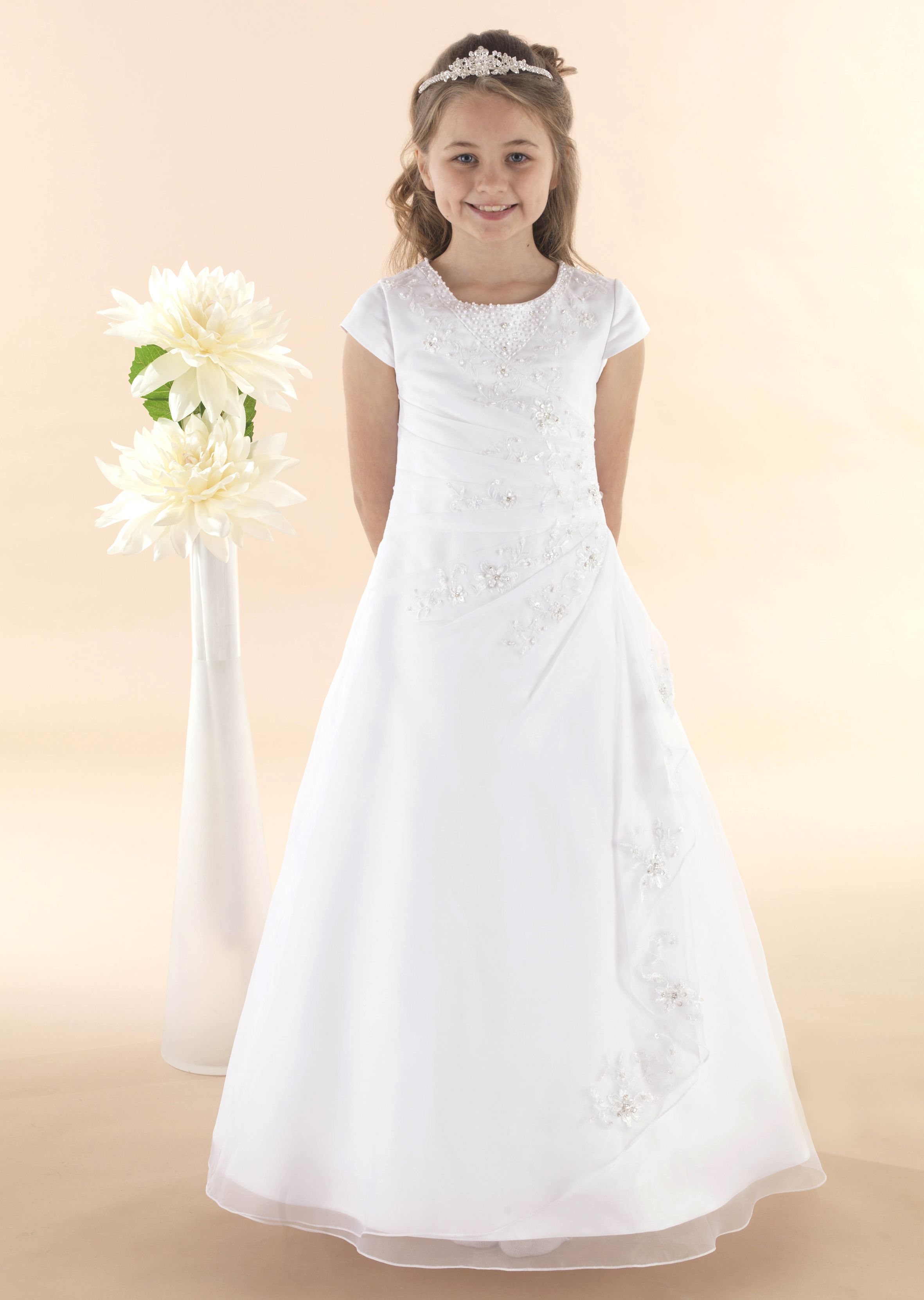 Organza communion gown with beaded drape effect skirt maria organza communion gown with beaded drape effect skirt maria ombrellifo Image collections