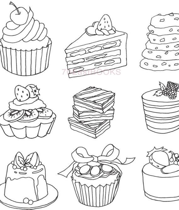 Only Bakery Coloring Book for adult - Food Cake Desert Cooking Bread, My Own Bakery Colouring book, Korean Coloring Book, 9791195300181