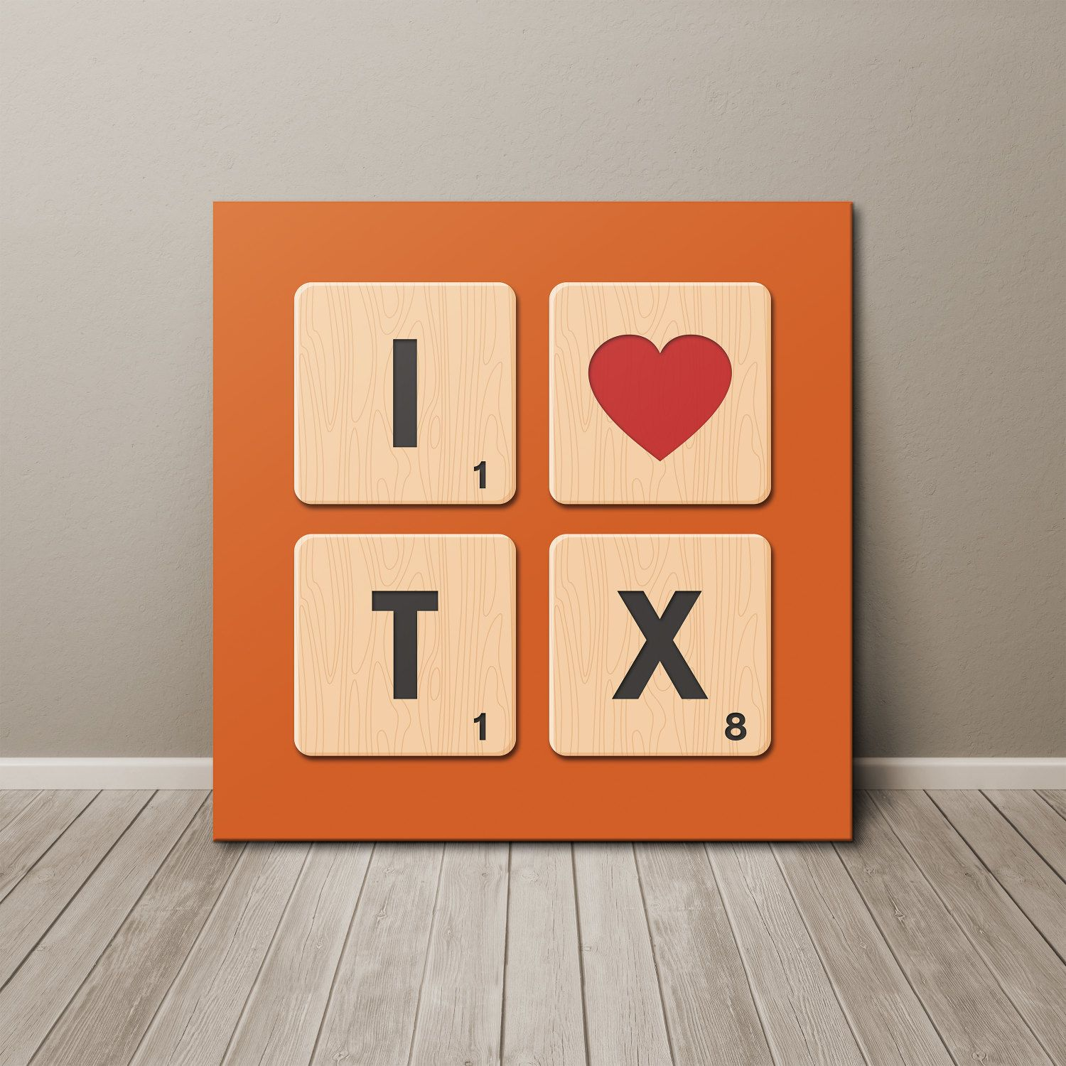 I Love Texas Scrabble Tiles Canvas Wall Art by SussiesHome on Etsy