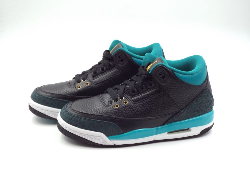 the best attitude e5132 28e54 Kid s Nike Air Jordan 3 Retro GG Size 4.5Y (441140 018) Black Gold Rio Teal  (eBay Link)