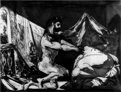 Faun unveiling a sleeping girl (Jupiter and Antiope, after Rembrandt) - Pablo Picasso