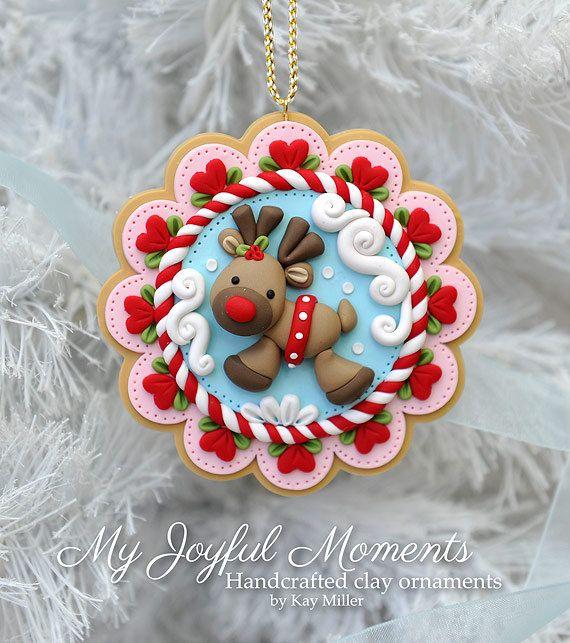 Ornamento de renos de arcilla pol mero artesanal masa - Adornos navidenos artesanales ...