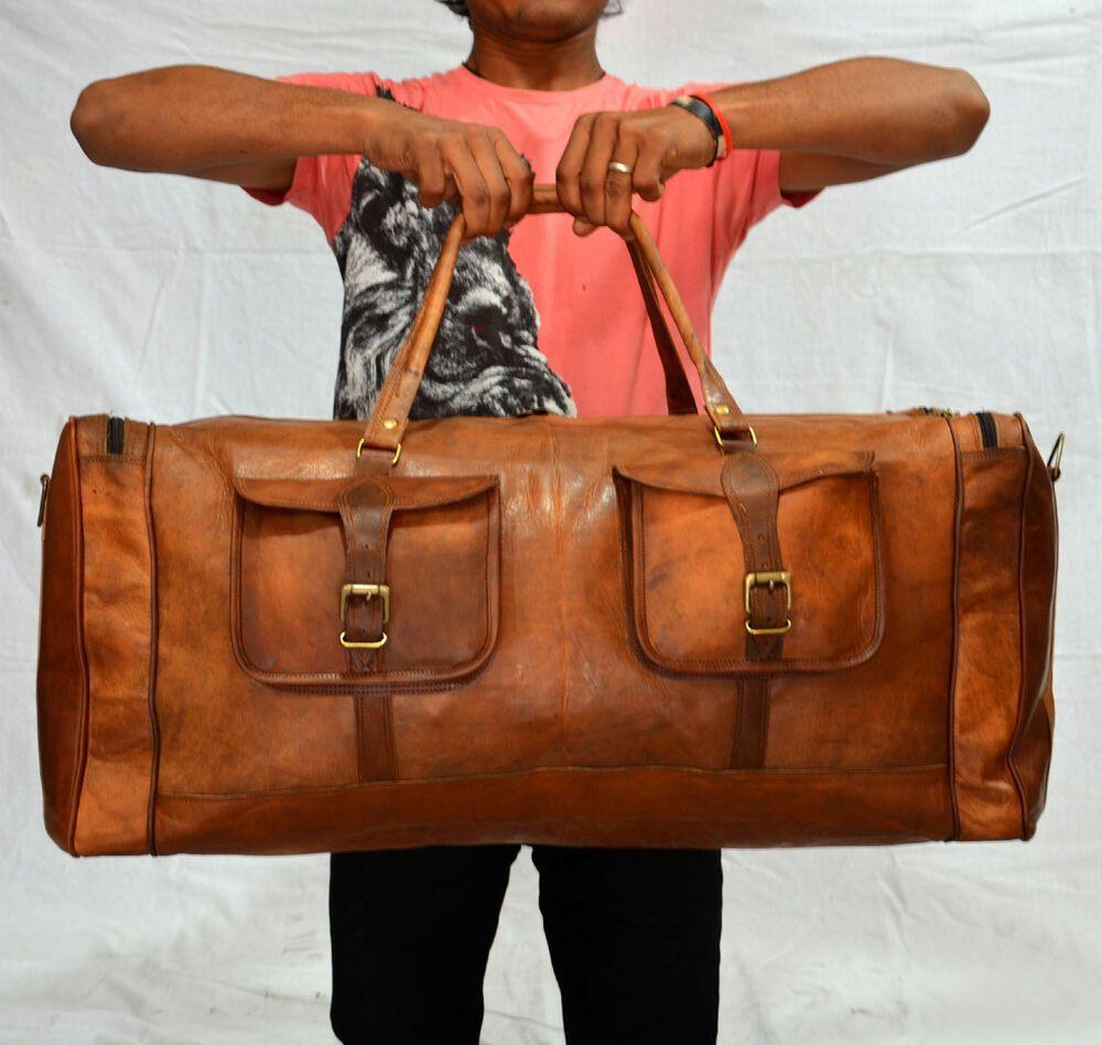 New Men/'s Brown Vintage Genuine Leather Cowhide Travel Luggage Duffle Gym Bags