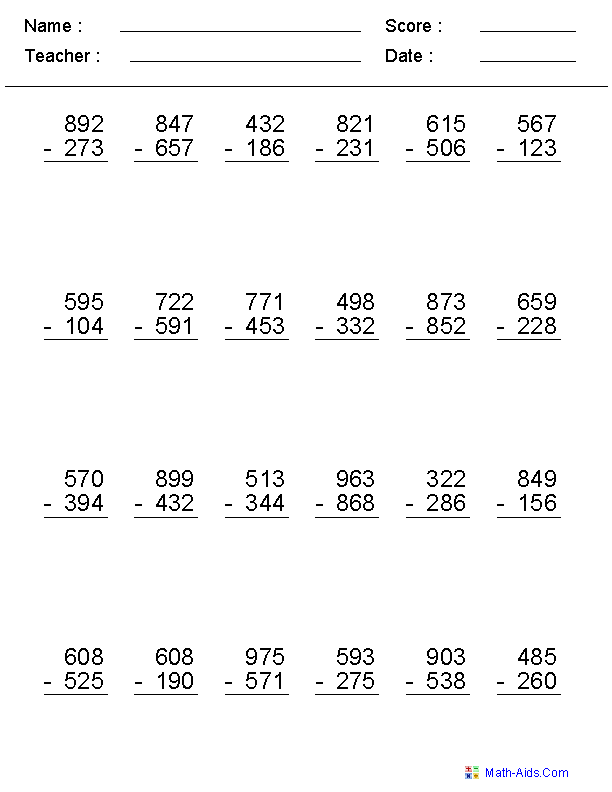2 3 Or 4 Digits Subtraction Worksheets Addition And