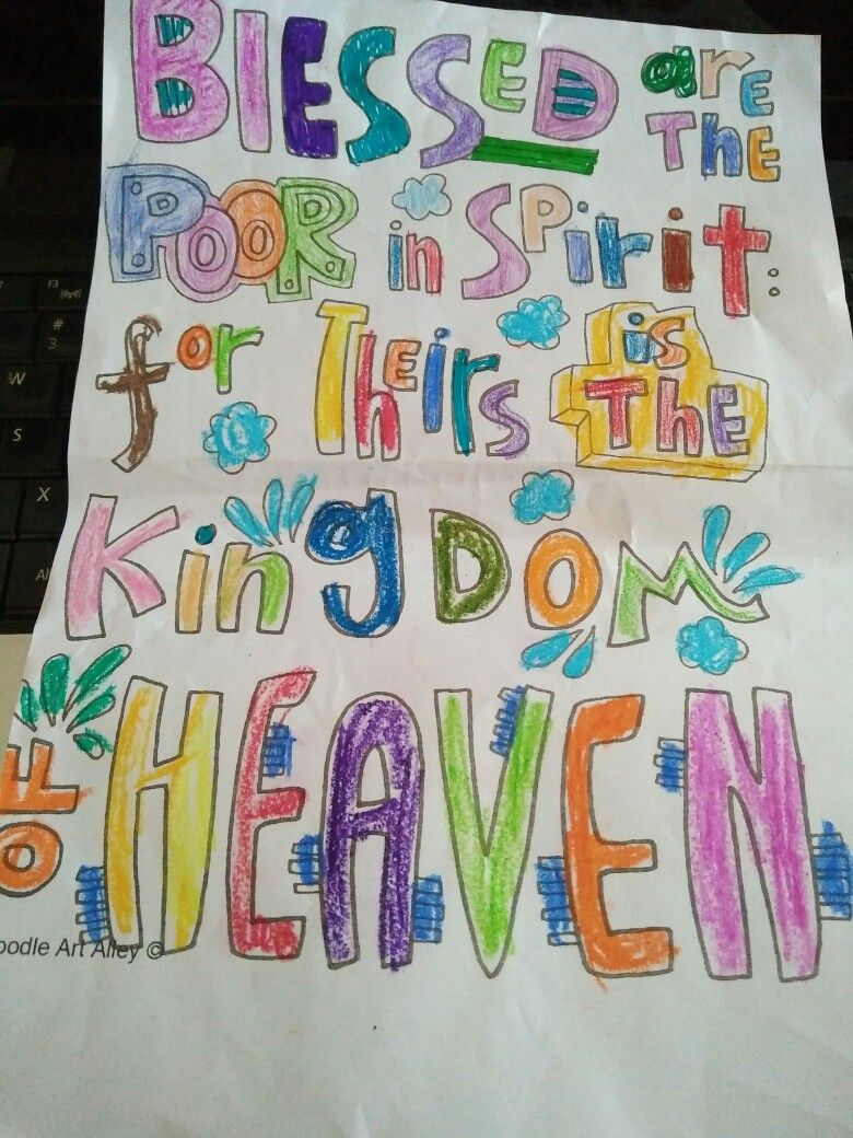 Beatitudes Blessed Are The Poor In Spirit Doodle Colouring For