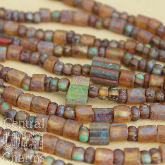 Czech Furnace Glass Beads - Aged Stripe Rocaille Seed Bead Mix - 7 inch Strand - Matte Picasso Finish - Central Coast Charms