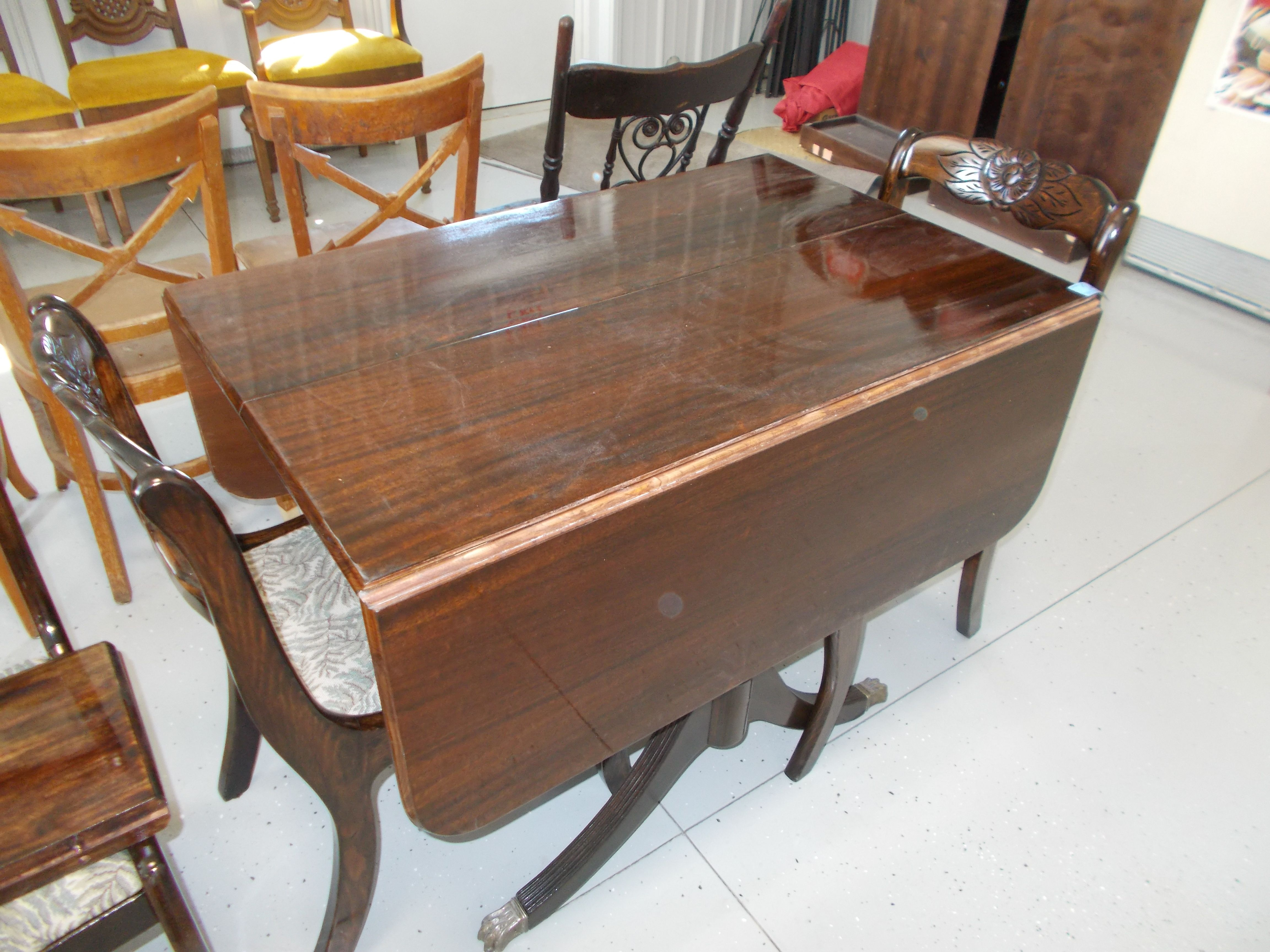 Tell City Mahogany Duncan Phyfe Drop Leaf Claw Foot Table And Carved Roseback Chairs Reglued And Reup Dining Table Small Dining Room Table Maple Dining Table