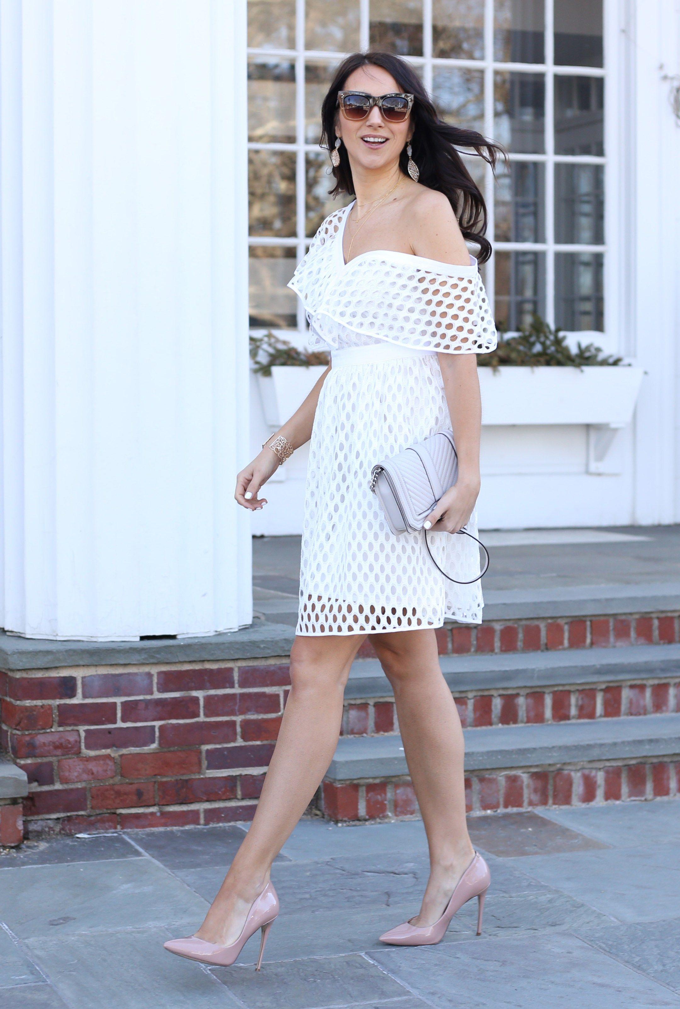 White Dresses For Spring Blushing Rose Style Blog Dinner Outfits Bridal Shower Dress Shower Dress For Bride [ 3204 x 2160 Pixel ]