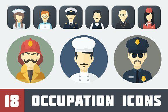 Flat Occupation Icons Set by Alex Serada on