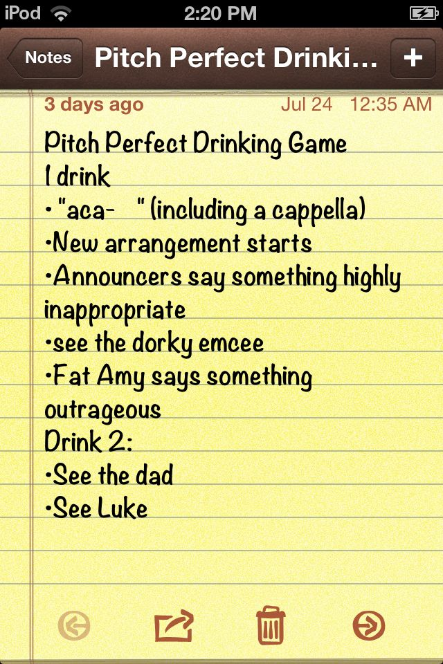 Pitch Perfect drinking game. THIS is amazing. I know what