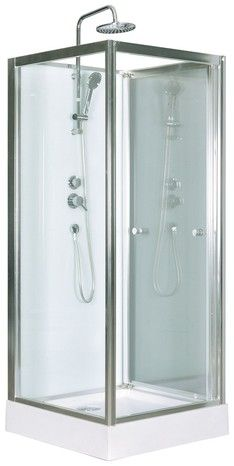 Cabine de douche blanc profilés en aluminium chromé H. 218