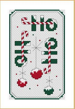 Please Share00020Ho Ho Ho Candy Canes and Ornaments Candy canes and ornaments arranged to make this holiday design.  It would be a great piece for Christmas cards or to make into an ornament. The free cross stitch chart is below: Ho Ho Ho Chart: Ho Ho Ho Colors: 4 DMC Stitches: 50 x 80 Dimensions: …