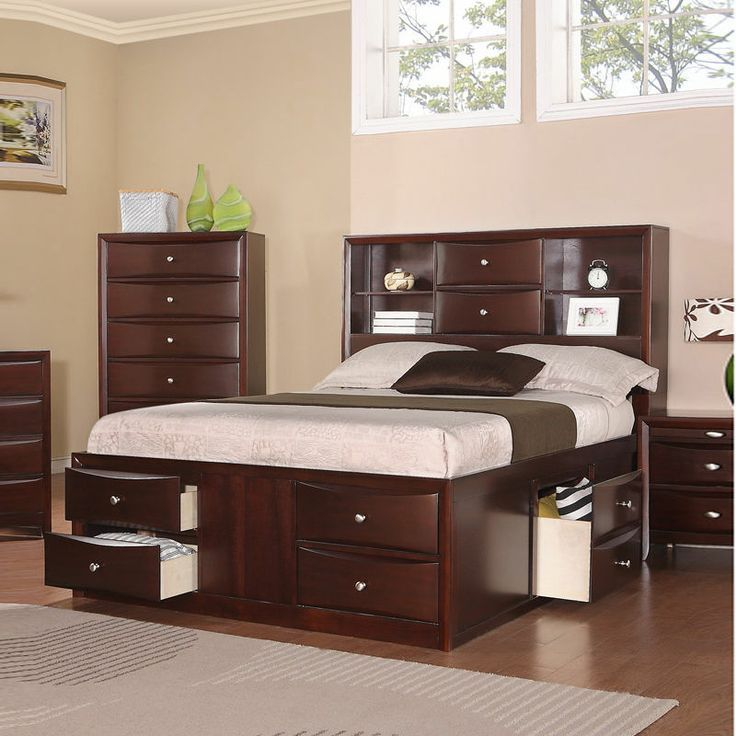 Awesome Bookcase Headboard Captains Bed Queen With 8 Drawer Mebel Dipan Minimalis
