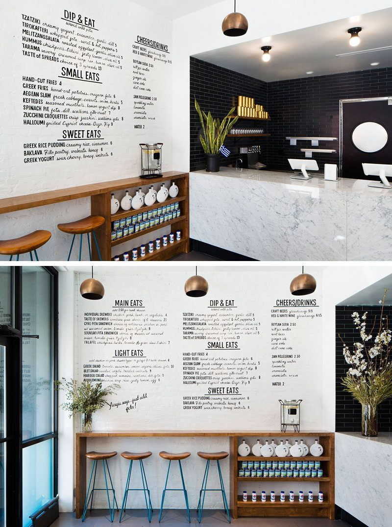 in this small modern restaurant black subway tiles and a large rh pinterest com Subway Restaurant the Blank Schedules Subway Restaurant Interior