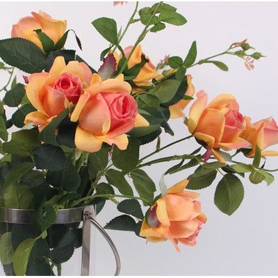 G Home Collection Luxury Real Touch 2 Bloom Rose Stem Flower Color: