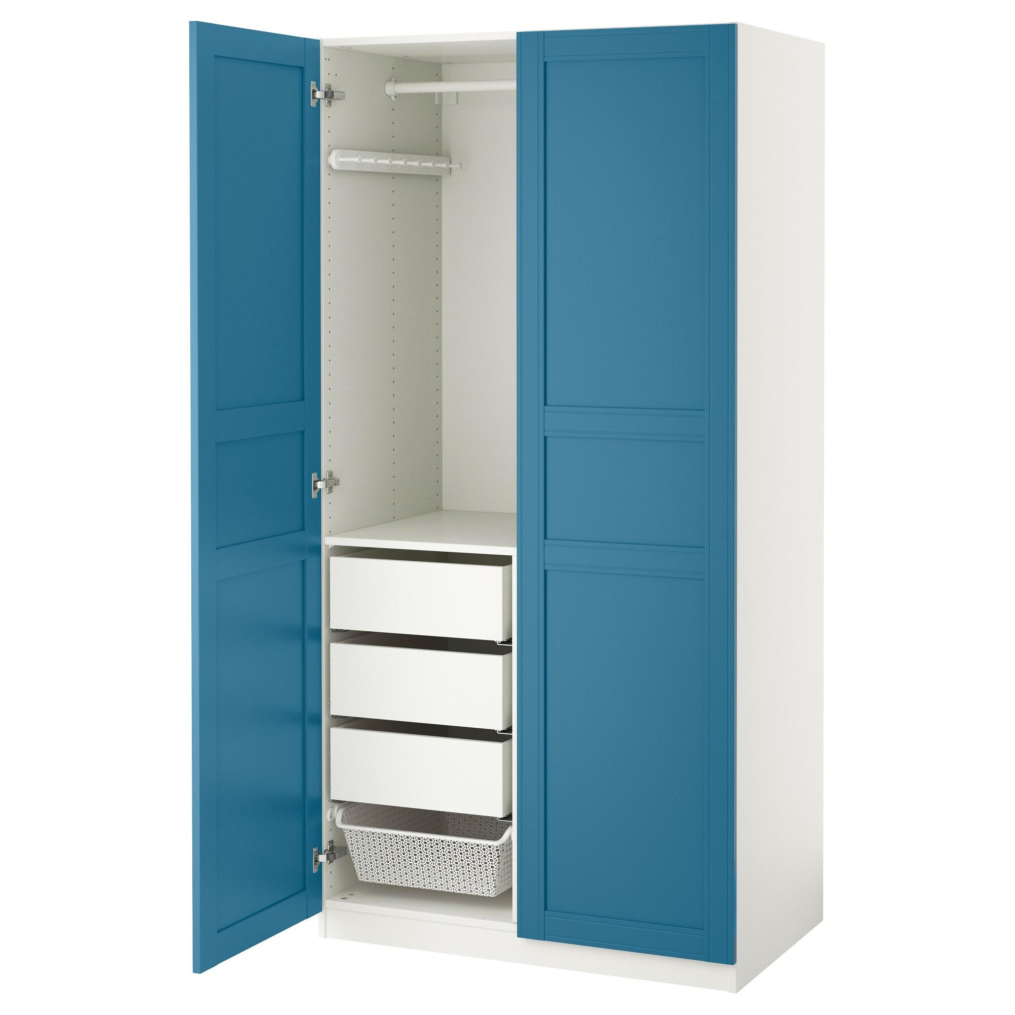 PAX Kleiderschrank weiß, Flisberget blau Products in