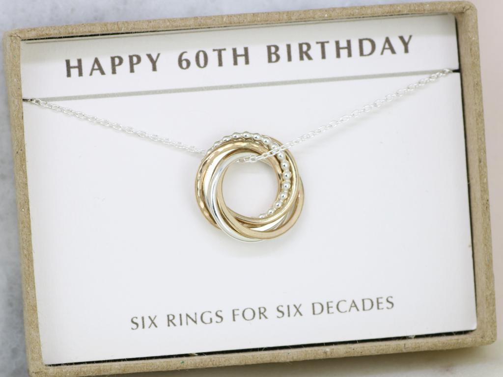 60th Birthday Gift For Her Necklace Dainty 6 Rings