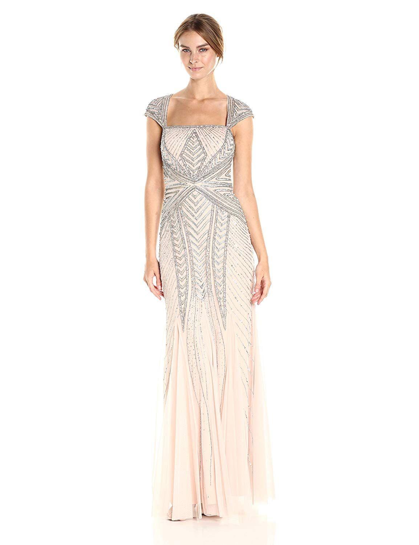 9473c847b912 Adrianna Papell Women's Envelope Cap Sleeve Beaded Gown | Adrianna ...