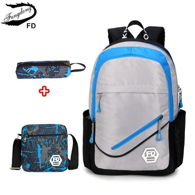 FengDong waterproof oxford fabric boys school bags backpack for teenagers  pencil case blue book bag boy one shoulder schoolbag e6a0cc23fa5e3