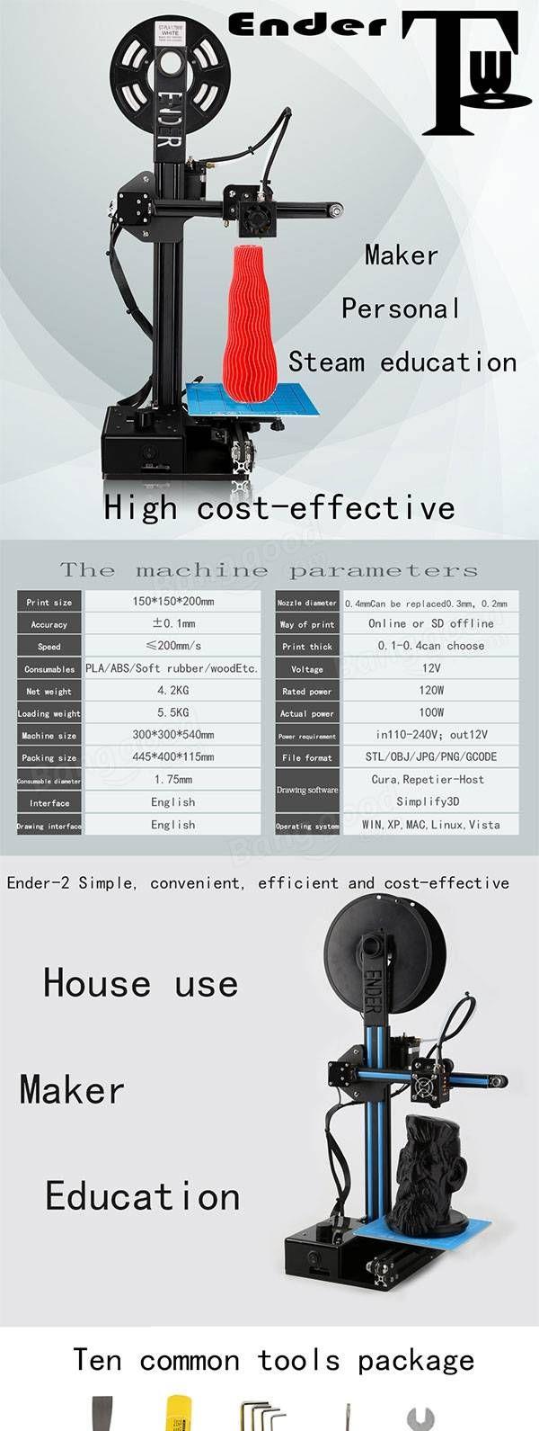 Ender® Ender-2 DIY 3D Druckersatz 1.75mm / 0.4mm Düse 150 * 150 * 200mm Druckgröße