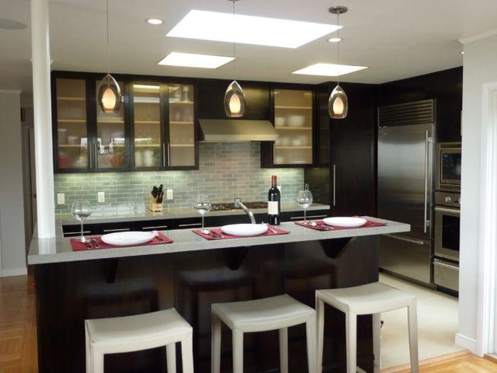 1001 ideas de decoraci n de cocina americana decorar - Como decorar un salon en forma de l ...
