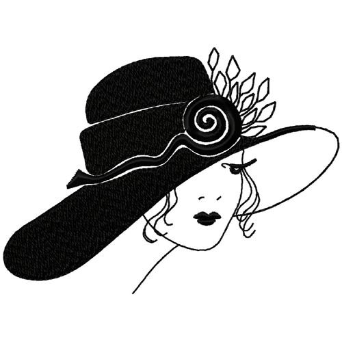 Art Deco Wide Rimmed Hat Embroidery Design Art Deco Cards Art