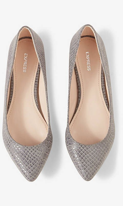 SNAKESKIN PRINT POINTED TOE FLAT from
