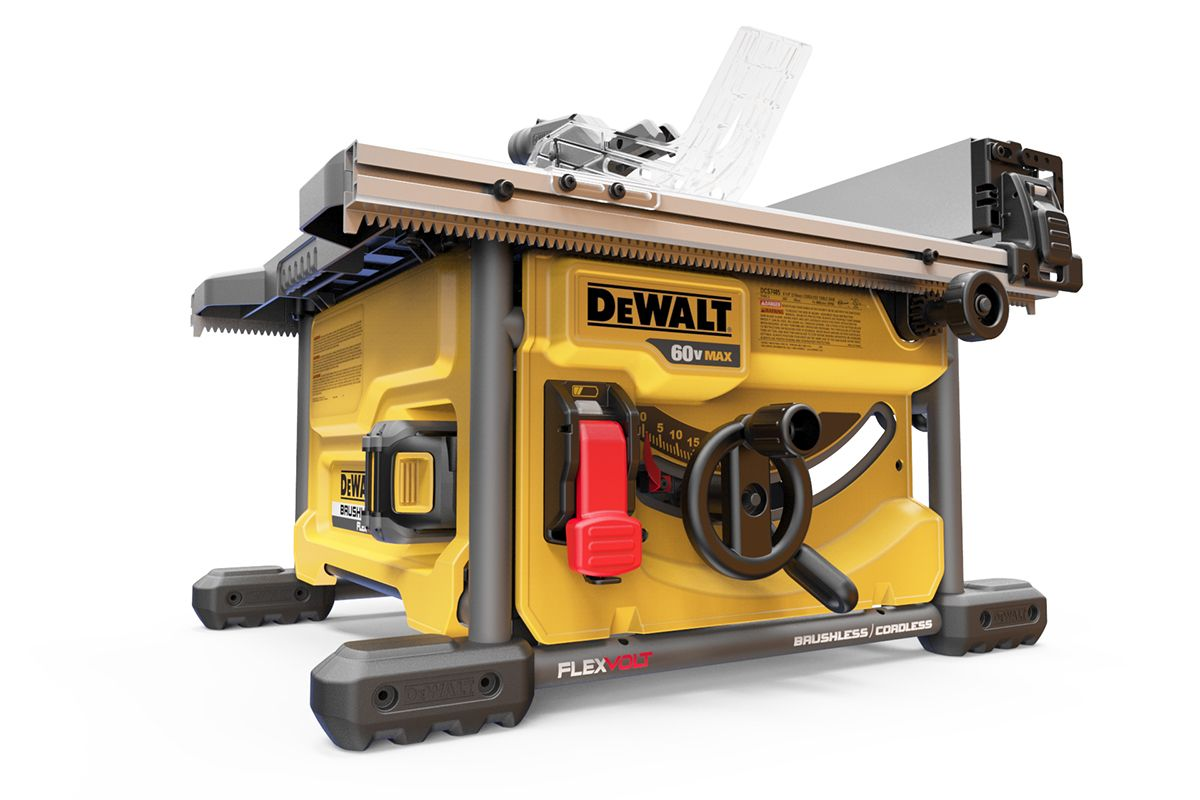 "the dcs7485t1 60v max* 8 1/4"" table saw is maximized for accuracy"