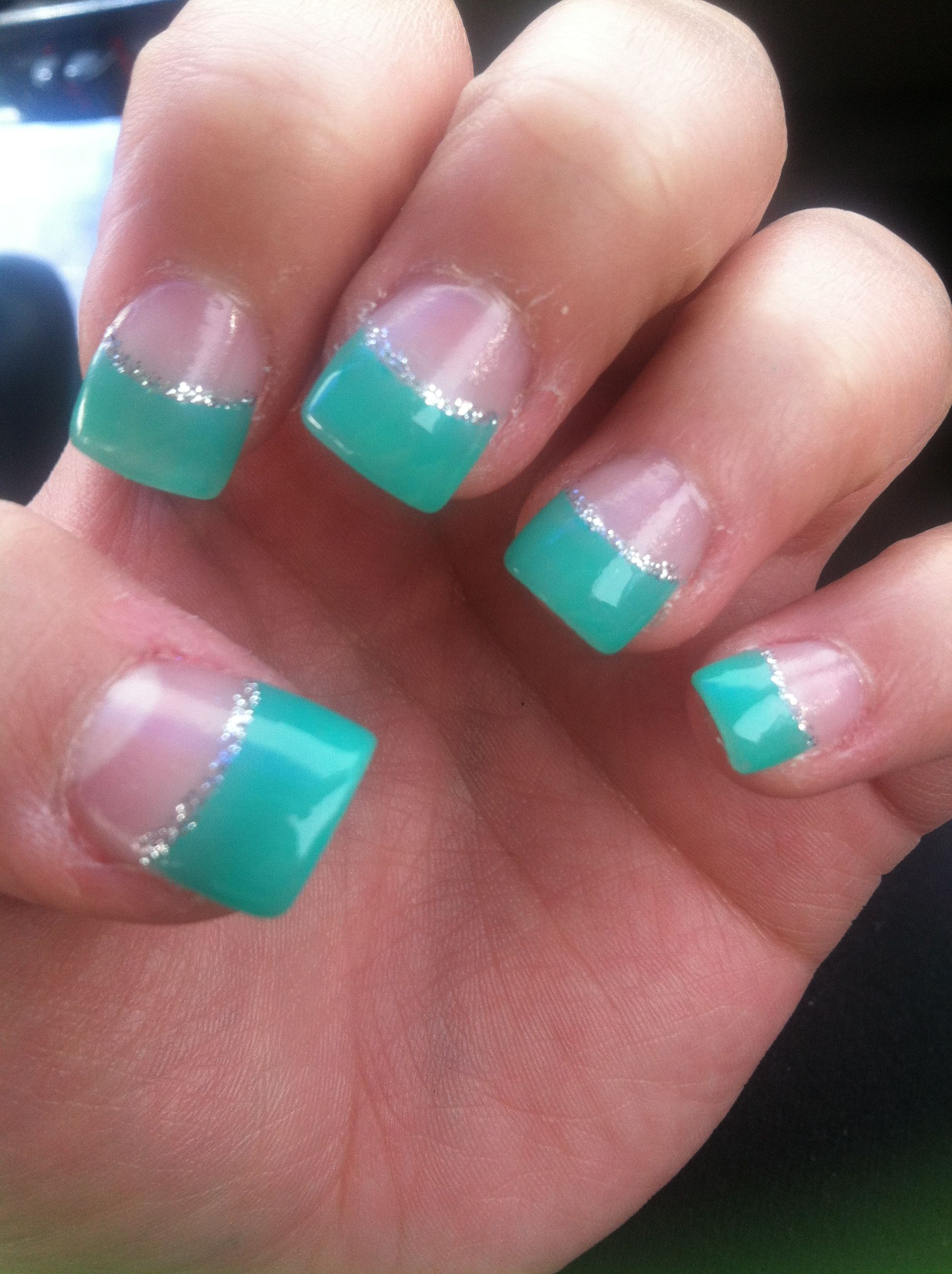 Acrylic Nails Teal Ish Grey Sparkle Lining French Tips Cute From Qt Nail Salon