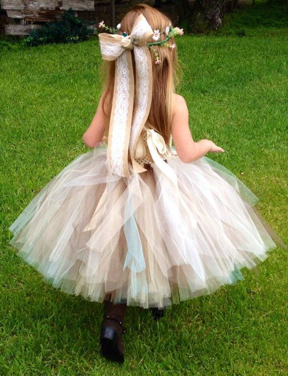 a9a18caaba3f Aqua Burlap   Lace Couture with aqua flowers and tulle Flower Girl ...