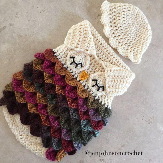 Crochet saco de dormir de buho de recién nacido / capullo ...